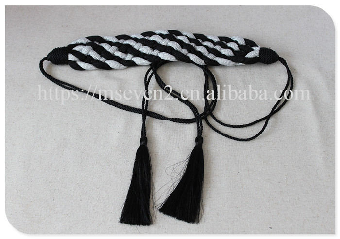 Fashion 1.8m stripe braided tassel belt for decoration