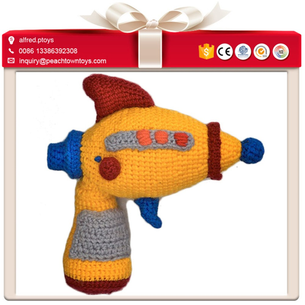 Playful boy belonged knitted stuffed plush gun toy