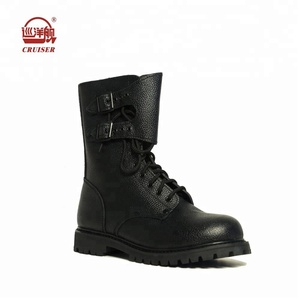 motorcycle police army combat leather boots black with buckle goodyear