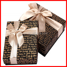 Luxury Custom Gold Stamping English Letters Paperboard Dark Chocalate box with Wholesale