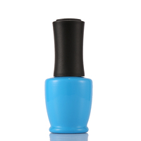 Blue Color Coating 15 Ml Gel Nail Polish Glass Bottle With Matte Blue Plastic Cap And Brush