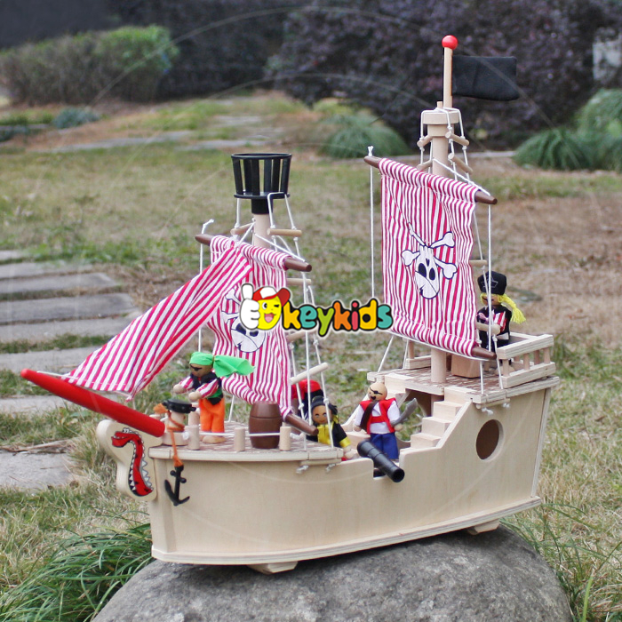 2017 wholesale baby wooden toy pirate ship new kids wooden toy pirate ship best toy pirate ship for sale W03B061