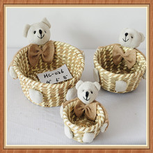 Recycled handmade grass basket gift with bear