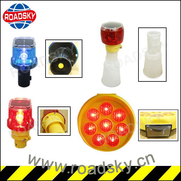 Flashing Traffic Yellow Construction Solar Warning Light For Road Cone