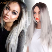 Aisi Hair 26 inch Women's Ombre Grey Wigs For Black Women Heat Resistant Synthetic Long Straight Hair Wig