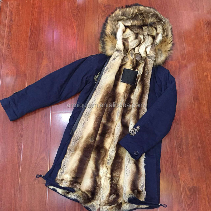Factory Directly Wholesale Dark Blue Faux Fur Lining Coat, Long Style Raccoon Fur Hooded Parka Jacket 2017