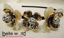 Fashion 2 with 1 flower with Rhinestones alice band headbands hairband