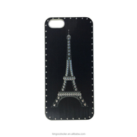 2016 Fashion style with crystal of the Eiffel Tower for Iphone5 hard plastic case