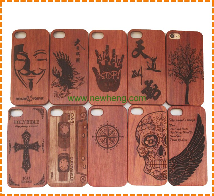 Real wood painted 3D carve pattern case for iphone 7, embossed bamboo wood case for iphone 7 plus