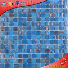 LS15 Golden Line Blue Glass Mosaic Tile Bathroom Trends in Decorating the Walls