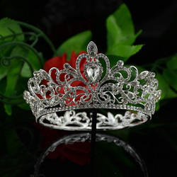 New Arrival Silver Plated Crystal Crown Fashion Tiara Bridal Hair Accessories