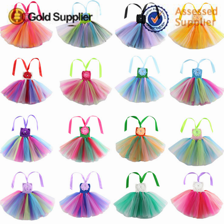 Top quality colorfully girls birthday tutu children summer suit