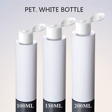100ml 150ml 200ml White Pharmaceutical Plastic Bottle with White Snap Lid Cap and Foil Sticker
