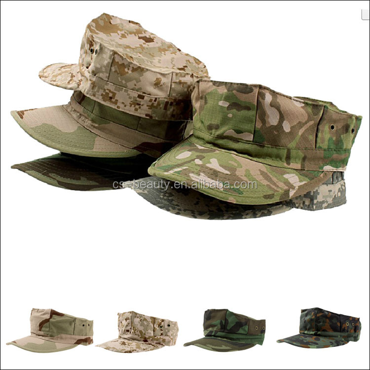 Customized Octagonal Shape Camouflage Cap, Breathable Camo Combat Hunting Caps, Ripstop Tactical Hat for Army
