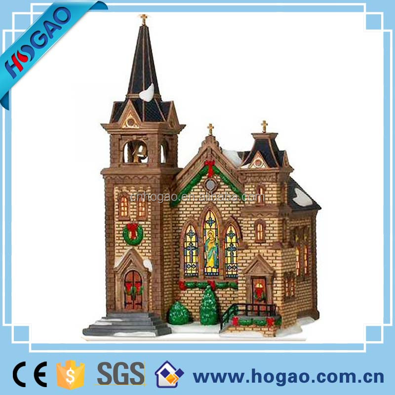 China polyresin ornament led unpainted Eroulepean style christmas village houses resin,unpainted christmas village houses