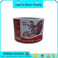 Custom Printed Adhesive Waterproof Plastic Juice Bottle Label