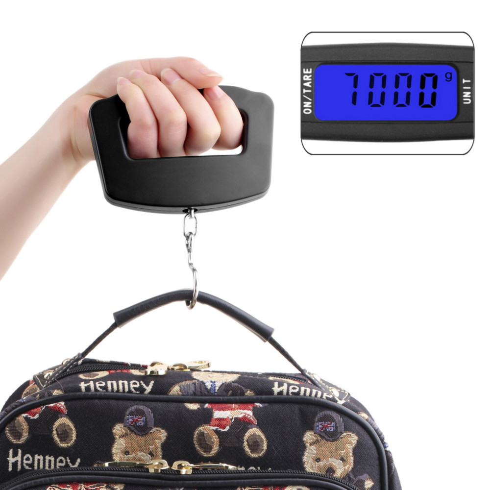 Black LED Digital 50Kg/10g Fish Hook Hanging Electronic <strong>Weighting</strong> Luggage Scales Mini Digital Hand Held Hook Hanging Scale