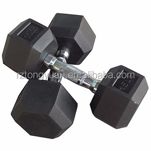 fitness Hex Rubber Dumbbell chromed