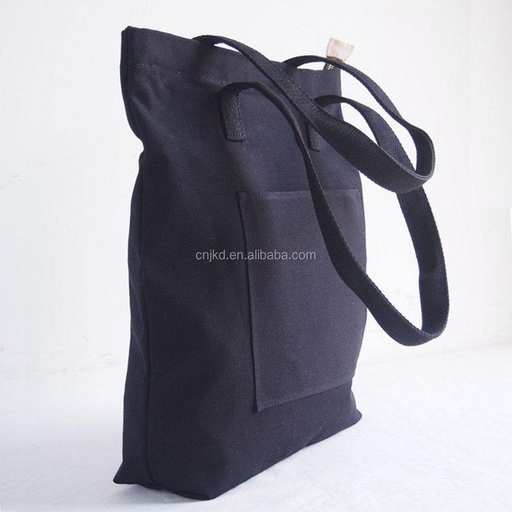 Repeatedly Used Practical Canvas Tote Bag With Outside Pockets