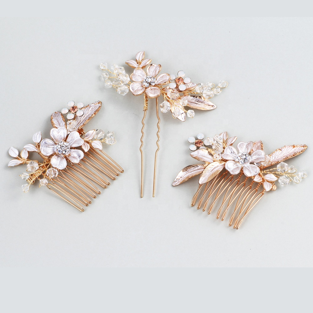 Floral Bridal Wedding <strong>Hair</strong> Comb Set Handmade <strong>Hair</strong> Pin Bridal Gold Headpiece Wholesale <strong>Hair</strong> <strong>Accessories</strong>