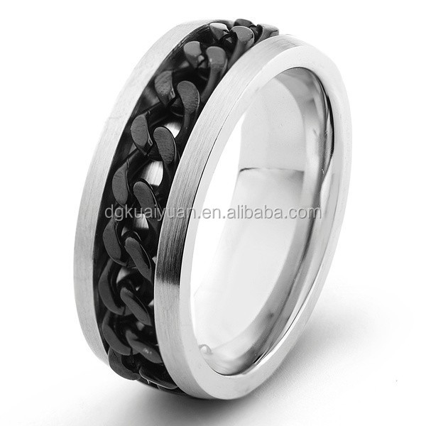Wholesale stainless steel biker jewelry mens chain link ring