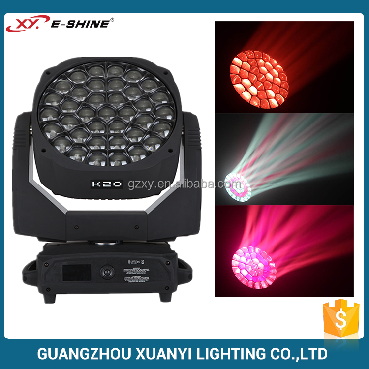 Chinese factory price stage lighting double rotation prisma dmx 37pcs 15w bee eye k20 wash led moving head disco light