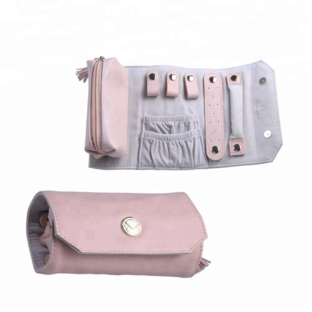 Custom Pink Leather Roll Up Personalized Logo Print Jewelry bags  for Travel with Botton/Ribbon