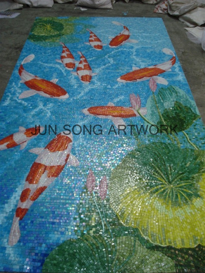 MAM-FS01 Glass Mosaic Backsplash Tile Decor Blue Bathroom Mural Fish Design Wall Tile Series