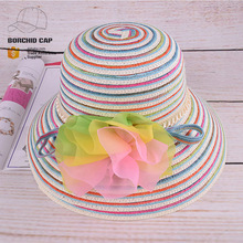 wholesale paper straw hat with beautiful flower new fashion funny colorful rainbow striped straw bucket hat