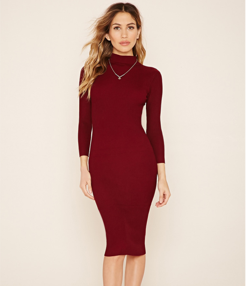 2016 Basic Knitting Dresses For Women Turtleneck Winter Long Sleeves Dress