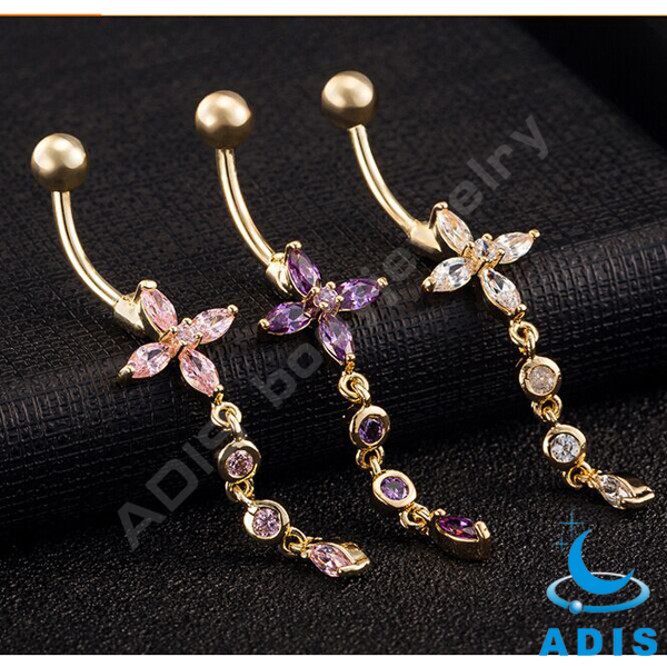 Stainless Steel Belly Button Rings Navel Piercing Dangle Body Jewelry