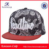 Custom Made 6 Panel Puff Embroidery Snakeskin Snapback Cap Metal Plate Snapback Hat