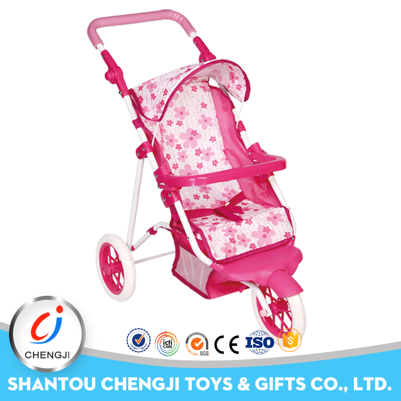 Hot popular plastic trolley toy pretend baby doll pram for kids