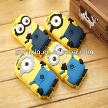 Cartoon despicable me case for samsung galaxy s4,despicable me minion rush silicon case for samsung and for iphone