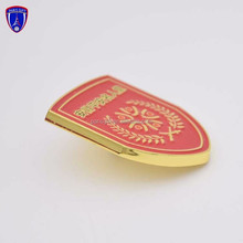 Promotional custom cheap enamel metal lapel pin best quality printed badge with shield shape