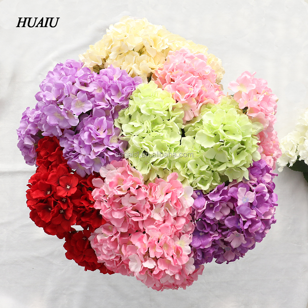 5 Heads/ Bouquet Artificial Hydrangea Flowers Silk Flower Heads Fake Leaf Artificial flowers for home party wedding decoration
