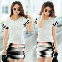 Ladies Skirt suits cotton stripe casual dress