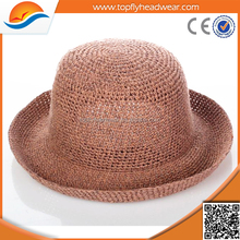 Hot Sell Cheap Brown Color Straw Fedora Summer Beach Hat