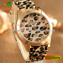 Hot selling 2013 new fashion watch classic leopard print ladies quartz watch women men Silicone dress watch
