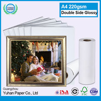 Fast dry 220gsm A3 A4 double sided inkjet white glossy photo paper perfect for printing