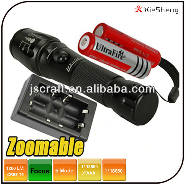 <strong>CREE</strong> XML <strong>U2</strong> 1200 lumen 5 mode dimming led rechargeable flash light