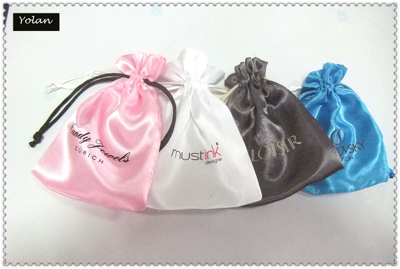 Round Satin Jewelry bags, Drawstring bag, White Gift Bag with Custom Logo