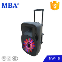 MBA new design 15 inch portable trolley built in light and bluetooth pa speaker