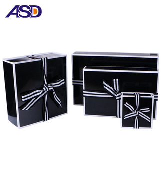 Custom Magnet Paper folding gift packaging box foldable cardboard flat box with ribbon