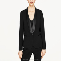 Wholesale oem service office long sleeve black women suit with pants