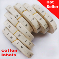 1000pcs/reel Free shipping 100% cotton arabic numerals garment size label,tags white background black letter,clothing label