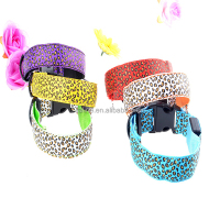 Adjustable LED Pet Cat Dog LED Collar Safety Glow leopard spots Necklace Flashing Lighting up Harness Training S/M/L