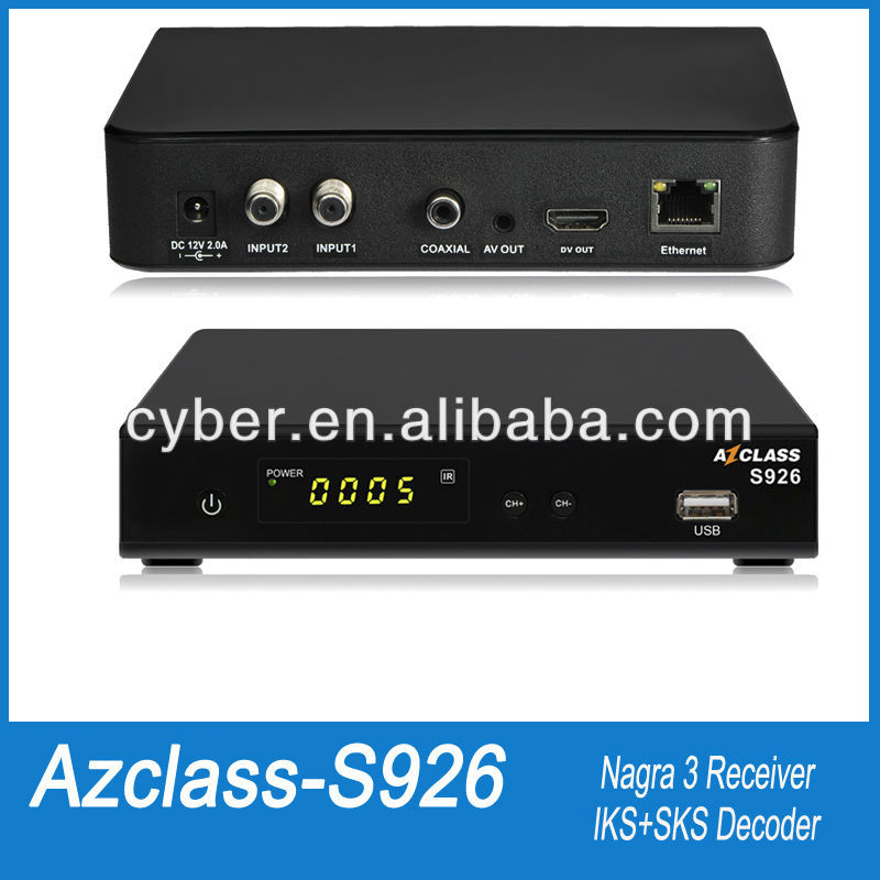 azclass s926 hd nagra 3 twin tuner free iks/sks tv receptor satellite internet sharing receiver az class
