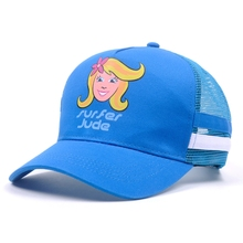Lovely fashion cotton and mesh kids trucker baseball cap with printed cartoon