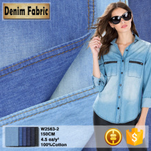 w2563 light blue 32*32 plain 100 cotton denim fabric cheapest
